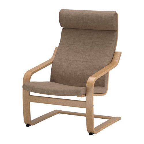 POÄNG Lenestol IKEA Sjiktlimt og formbøyd eik gir behagelig fjæring. Den høye ryggen gir god støtte til nakken.