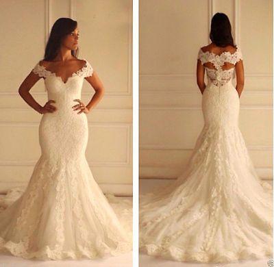 Sexy Off Shoulder Mermaid Lace Bridal Gown Wedding Dress Custom Plus Size 2-28