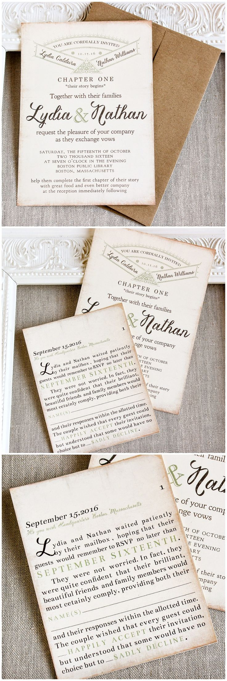 Green Literary Wedding Invitation
