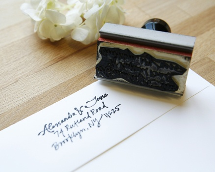 Custom Calligraphed Address Stamp from Paperfinger
