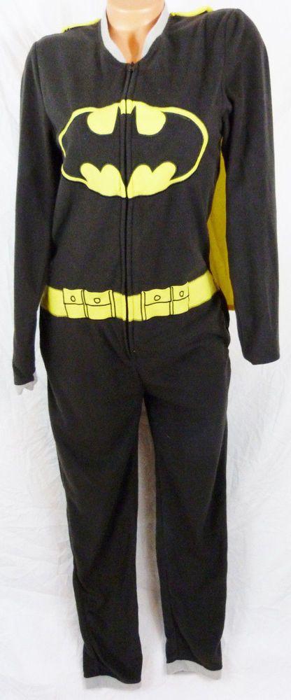Batman Cape Superhero Suit Fleece Bodysuit Pajama Sleeper Adult Small Unisex #Batman #Onesie