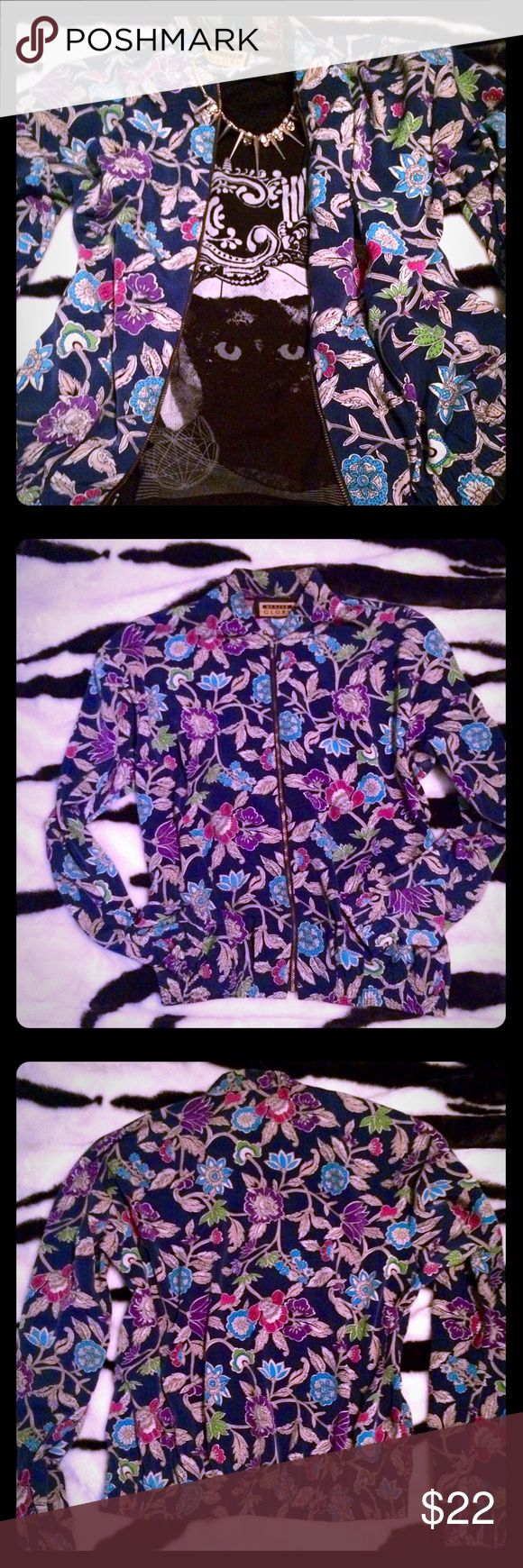 ✨Vintage 80s floral light bomber jacket sm/med Cute vintage floral zip up spring silk bomber jacket.  Will fit a small or medium.  In style right now, all the stores are bringing this retro look back! Stretches at the wrists and around the bottom. Vintage Jackets & Coats