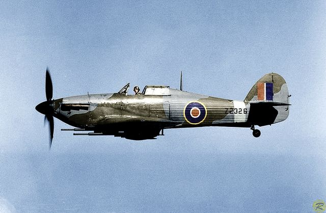 Hawker Hurricane. The work horse of the Battle of Britain. But you wouldn't want to be up against a 109 in this crate.