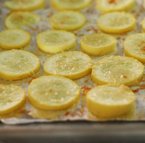 Parmesan Yellow Squash: Line baking sheet with tinfoil. Slice yellow squash thinly and place in a single layer on baking sheet. Sprinkle with onion powder, garlic salt, and grated parmesan. Broil in oven until lightly toasted.