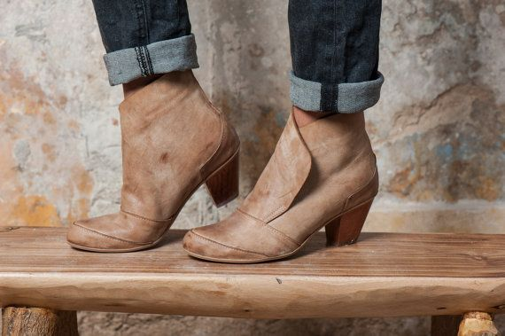 Sand Brown Leather Booties / Women Leather by EllenRubenBagsShoes