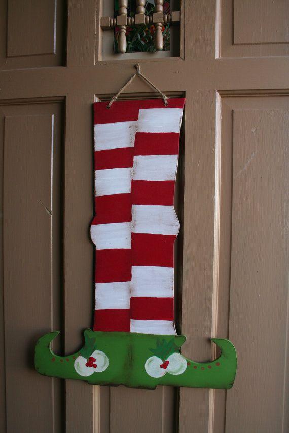 VintageStyle Elf Feet  Holiday Door Hanger