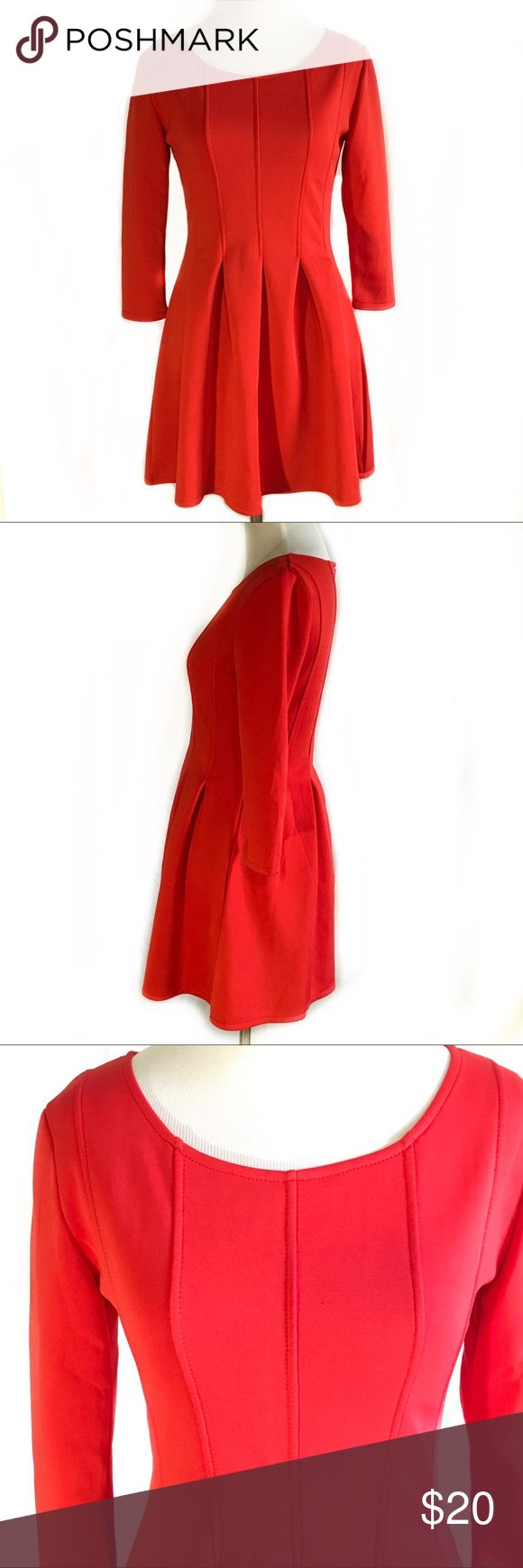 """Women's EUC Choies skater fit and flair red dress ❤️Description: Fit and flair, pleated scoop neck ❤️Excellent used condition: no major flaws, no stains, holes, tears ❤️Brand: Choies ❤️Materials:  ?? No tags  ❤️Approx. Measurements, laying flat: Waist  13.5"""" Bust 15"""" across chest Sleeve length 12.5"""" pit to sleeve hem  Total length   31"""" shoulder to bottom hem  ❤️All measurements approximate, may vary depending on stretch of the fabric and person measuring. All used items may have loose…"""