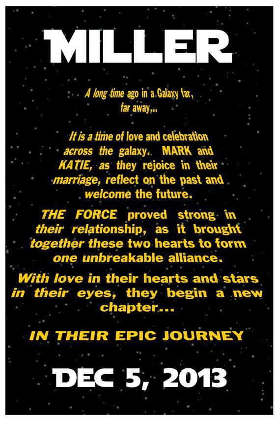 "Custom STAR WARS Wedding Poster 11""x16.5"""