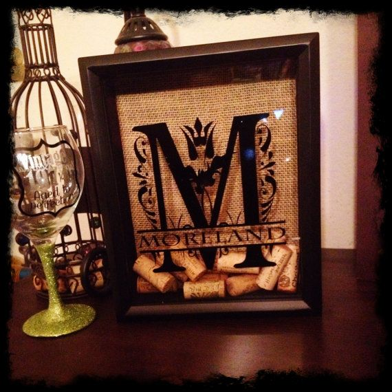 8x10 personalized wine cork holder  split letter  housewarming gift  wine shadowbox  wine shadow