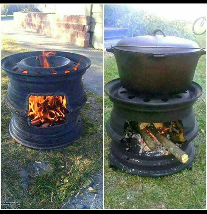 Recycled tire rims, used for campfire cooking and Cast Iron or dutch oven.