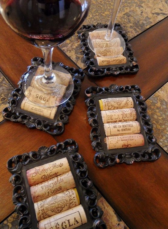 Upcycle your wine corks into very unusual coasters. Get some small frames for a couple of bucks each, antique/paint the frames to match your colors and presto. I really like these coasters. I need to make some of these. - Pam
