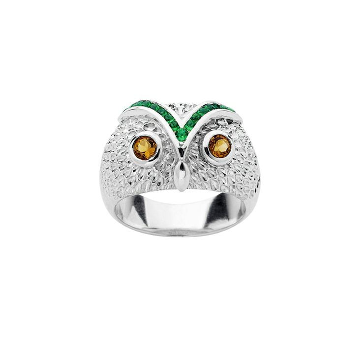 Owl ring - $299. Thick, statement ring crafted in 925 sterling silver with large detailed Owl feature with embossed feathers, with Citrine stones for eyes and Biron Emerald brow detail. KW and 925 stamped on the inside of ring. Lovingly created by New Zealand clothing and accessories designer label Karen Walker. www.savethelastpinker.com.au/shop/owl-ring/