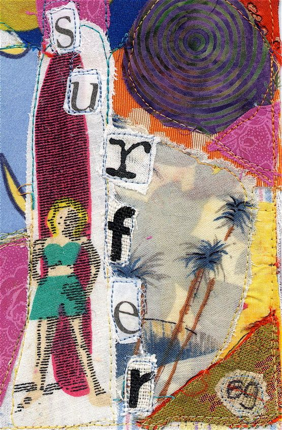 Surfer Girl Surfing PRINT from  Original Fabric Collage mybonny