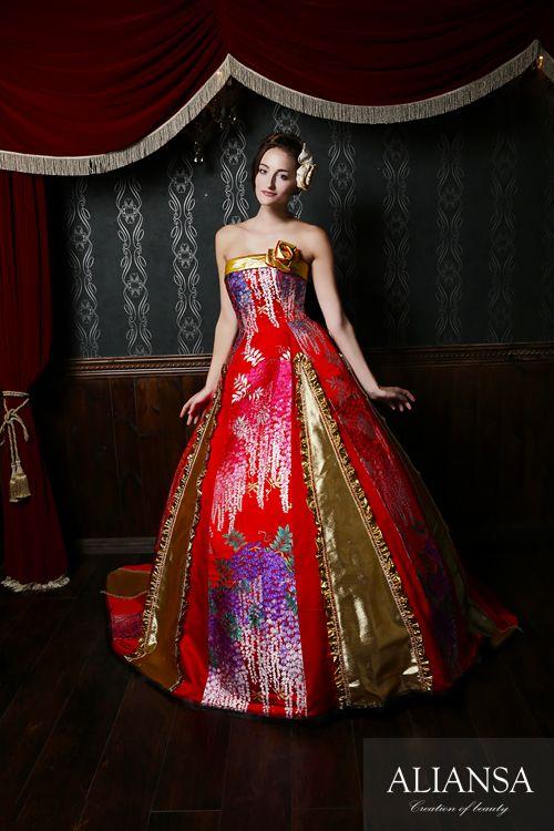 和ドレス 着物ドレス 藤灯