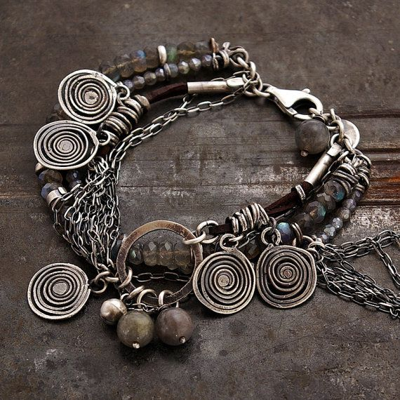 handmade bracelets, oxidized sterling silver (925) - 100 %, Baltic amber, labradorite, signed © ewa lompe  Christmas in July 1 & 12 for purchases of $50 or more save 10%off - use the coupon CIJ10 for purchases of $130 or more save 15% off - use the coupon CIJ15 for purchases of $ 220 or more save 20%off - use the coupon CIJ20 *Coupons codes to be used at check out !   D E T A I L S : total length : 18 + 3 cm or 7+ 1. 2 ( can be changed. Please, let me know. ) ball labradorite : 8-9 mm blue…