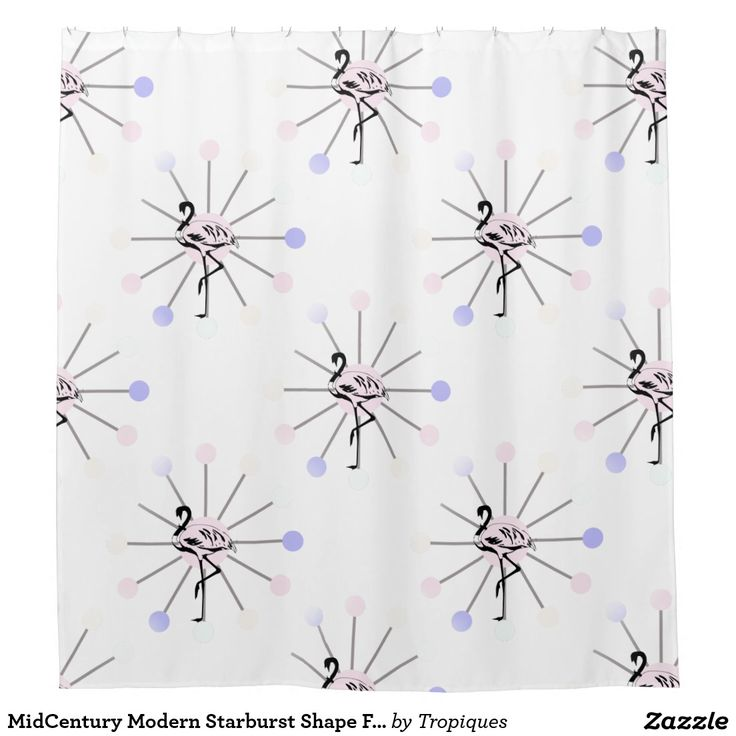 MidCentury Modern Starburst Shape Flamingo Pattern Shower Curtain