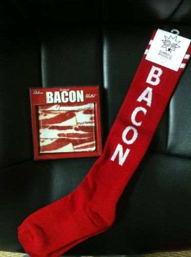 "Bacon Socks & Bacon Wallet- Combo Gift Pack by Meat Maniac. $19.94. Great Gift for ANY Occasion! Father's Day, Valentines Day, B-Day, Christmas, Halloween or Easter. Bacon Wallet-  4-1/4"" x 3-3/4"" Faux Leather. Bacon Socks- Retro Knee High Unisex Tube Socks with Stripes. Combo Gift Pack- Bacon Socks & Bacon Wallet. This Combo Gift Pack includes: 1- Bacon Socks & 1- Bacon Wallet."