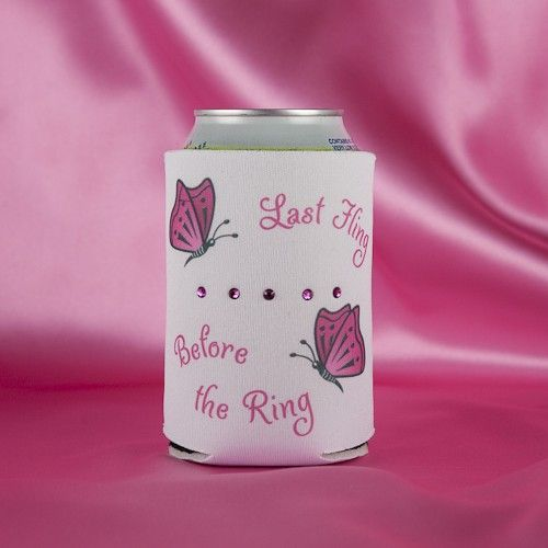 "Bachelorette Party Koozie in hot pink on white with the saying ""Last Fling Before the Ring.""  We add 5 genuine Swarovski crystals to add a bit of bling.  There is a spot on the back where you can put each name of the girls attending with a Sharpie Marker (not included) so they can keep track of their koozie throughout the evening. A party favor that is sure to be appreciated at your very special celebration in honor of the Bride to Be"