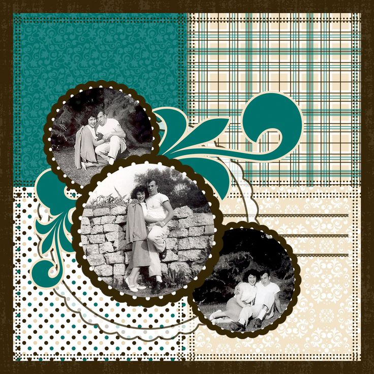 Heritage, pg. 1 ~ Simple and striking two page layout using Celebrations quick album from scrappersguide.com. Each page has a different format but the colors are consistent for a unified look. Both pages are great layout ideas for scrapping multiple photos without looking too busy.