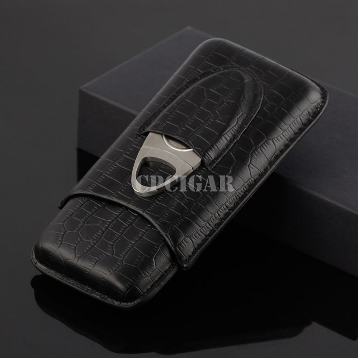 Portable Crocodile Embossed Grain Pattern Real Leather Cigar Case Holder 3 Tubes Mini Travel Humidor w/ Metal Cutter