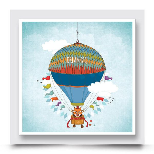 DREAM BIG FOX hot air balloon wall art comes printed /on stretched canvas or box framed & can be personalised with your child's name. Add a colourful happy vibe to a baby nursery, kids bedroom or playroom. Mix and match your artwork to create your own story. Order your art print from http://www.madicleo.com/collections/wall-art-for-boys-rooms