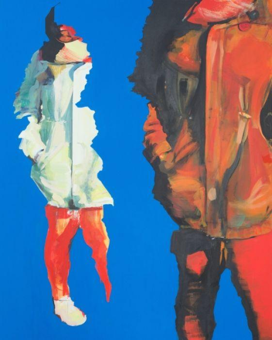 Karolina Braclawiec, We, acrylic on canvas, figurative art, color, red, blue, painting, modern art, young art, polish art
