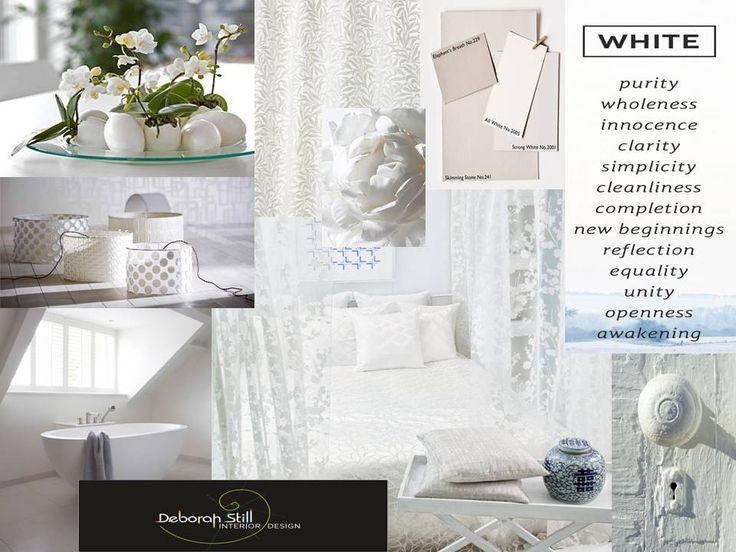 White, is a positive colour, it is associated with purity, virginity, innocence, and perfection. The colour of snow, white is often used to represent coolness and simplicity. White's association with cleanliness and sterility is often seen in hospitals, medical centres.