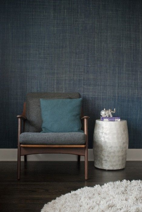 Not generally a fan of wallpaper - but I want to add some blue grasscloth wallpaper to the wall behind our bed.