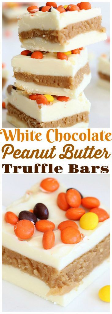 Creamy, silky white chocolate sandwiching a decadent peanut butter truffle center! And these White Chocolate Peanut Butter Truffle Bars are ready in minutes!