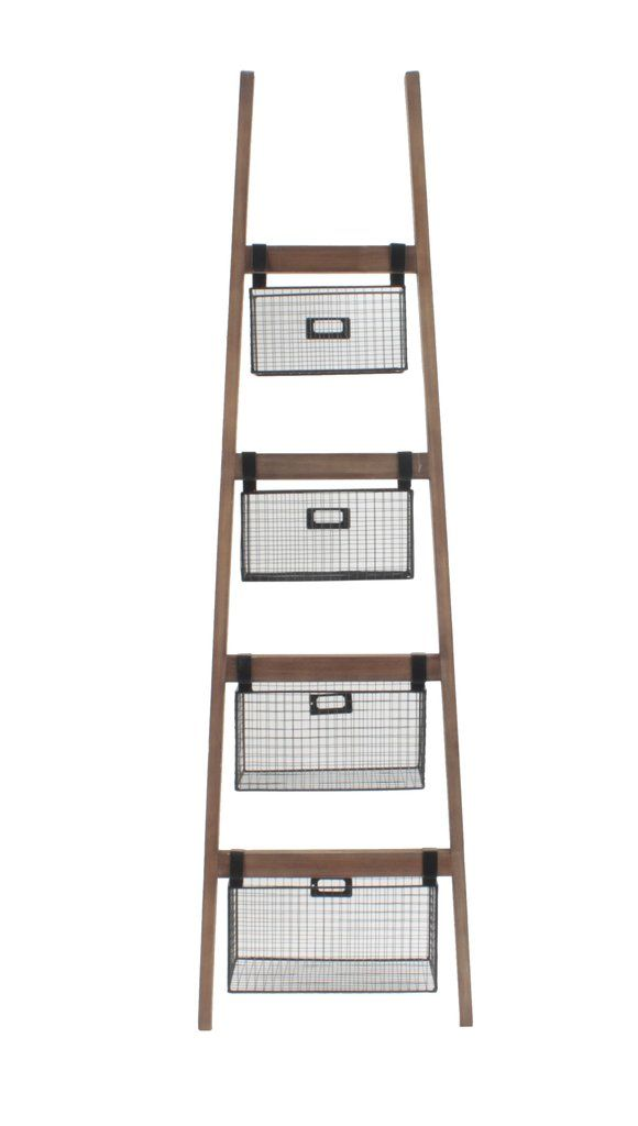 Wood Ladder Shelf W Wire Storage Baskets Wire Basket Storage Storage Baskets Wooden Storage