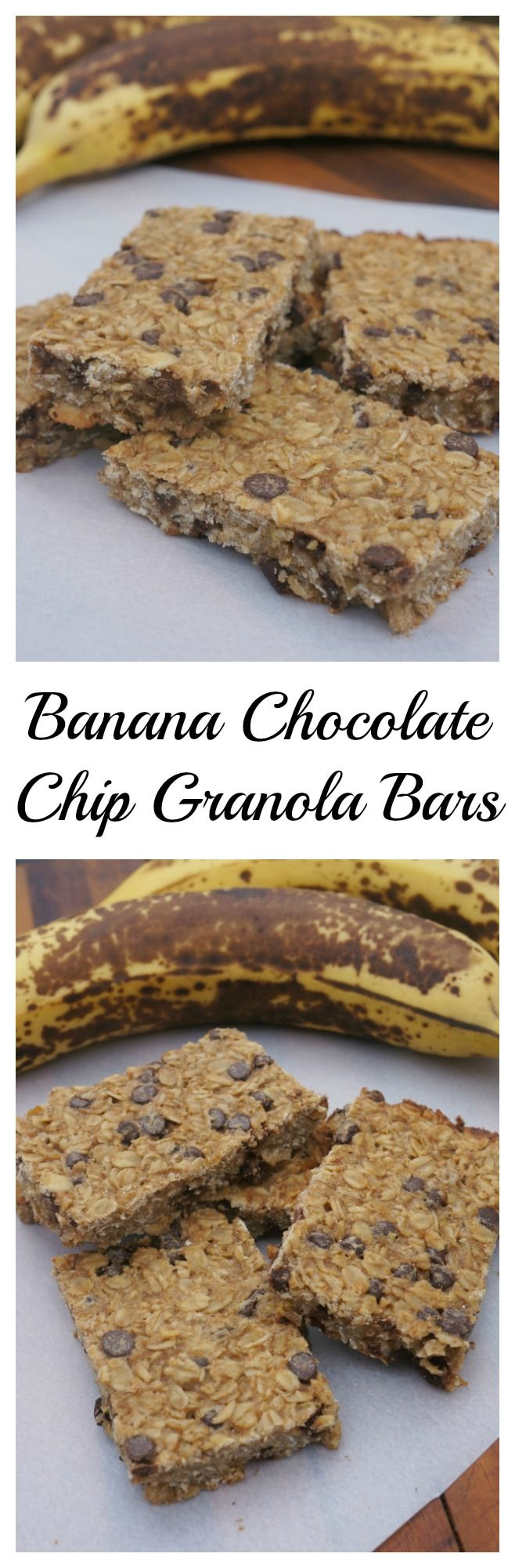 These banana chocolate chip granola bars are perfect for a healthy breakfast, snack or treat. p