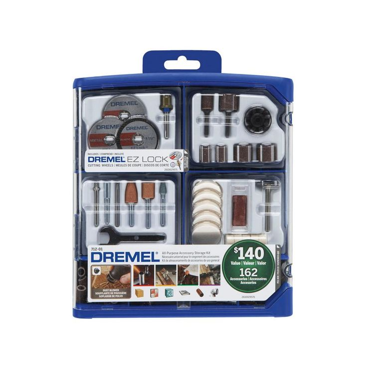 Dremel Rotary Tool Accessory Kit for Cutting, Sanding, Polishing, Grinding and Cleaning (162-Piece)