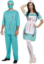 Couples Zombie Doctor and Nurse Fancy Dress Costumes