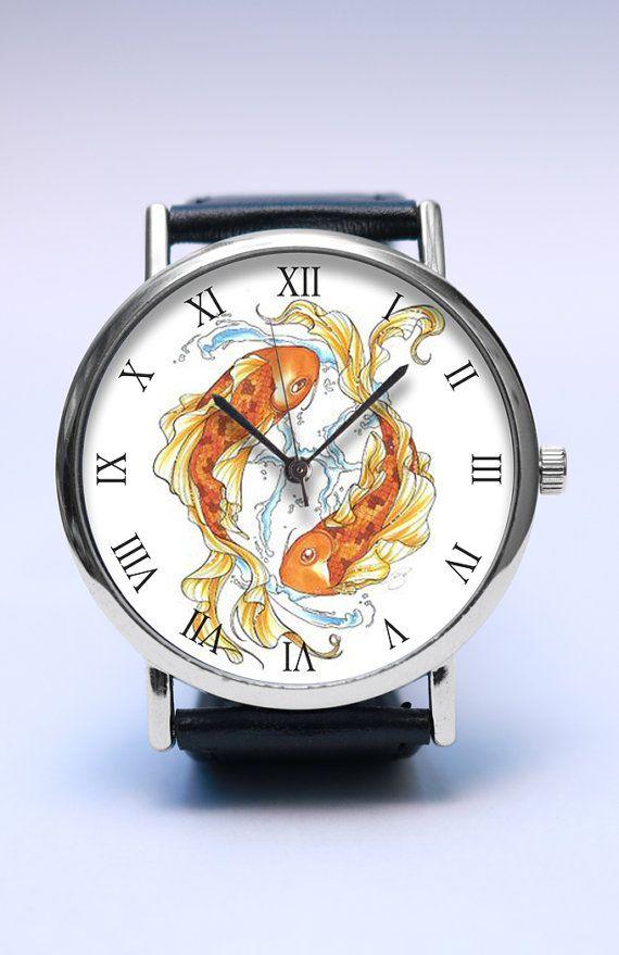 KOI Fish Handmade Watch, LUCKY Koi Watch, Vintage Style Leather Watch, Boyfriend Watch, Unisex Watch, Handmade Leather Watch Jewelry