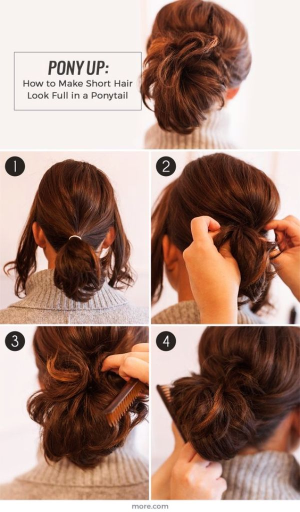 Easy Hairstyles For Women With Short Hair Short Hair Ponytail Hair Styles Short Hair Styles