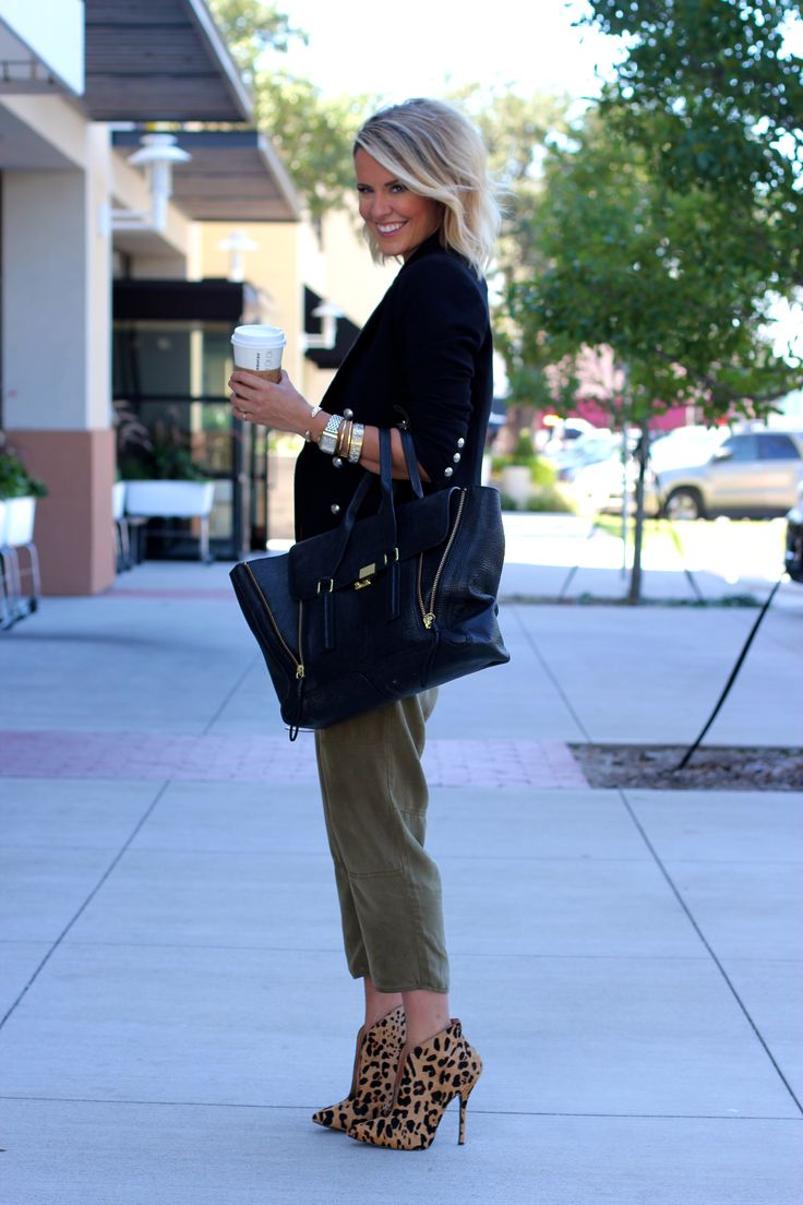 Silk overalls, blazer, amazing statement necklace. And oh those leopard booties!
