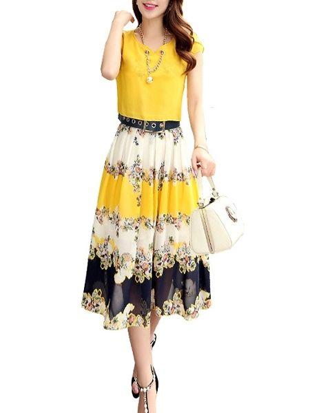 Elegant Chiffon Tribal Printed Maxi-dress Maxi Dresses from fashionmia.com