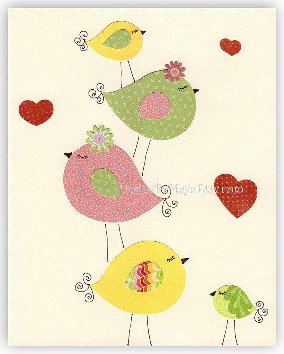 Aves de amor imprimir lámina decoración niños guardería... Diversión en familia