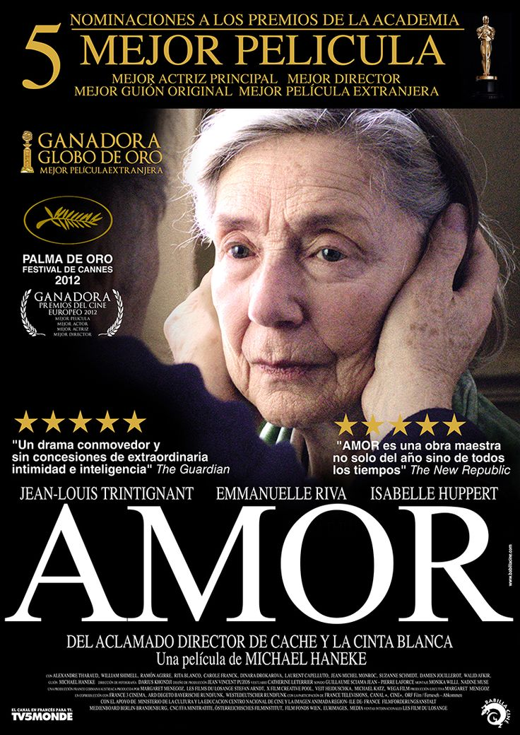 Amor (7/10) Drama duro y reflexivo sobre la vejez y la enfermeda. Dirigida por Michael Haneke