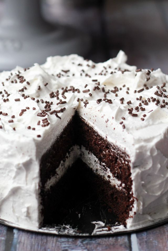 Devil's food cake with angel frosting...brings back wonderful memories of my childhood