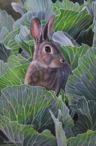 """Daily+Paintworks+-+""""A+Rabbit+In+The+Garden""""+-+Original+Fine+Art+for+Sale+-+©+Leslie+Macon"""