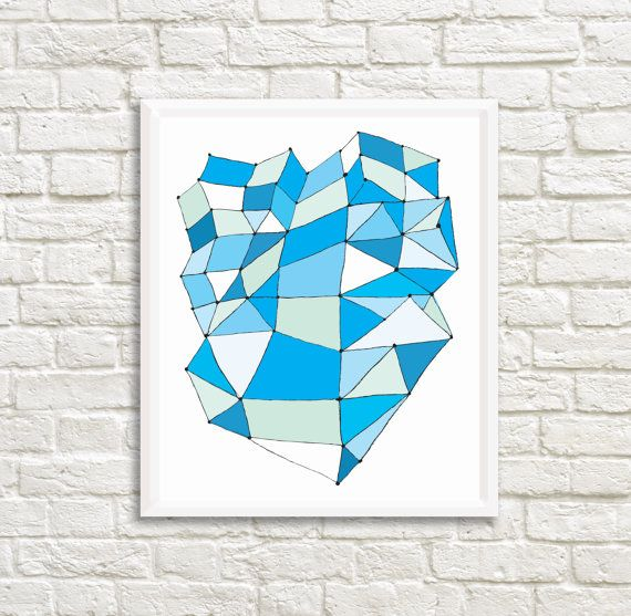 Three-Dimensional Blue Abstract Art 25x  30 by LittleLotusFlowers