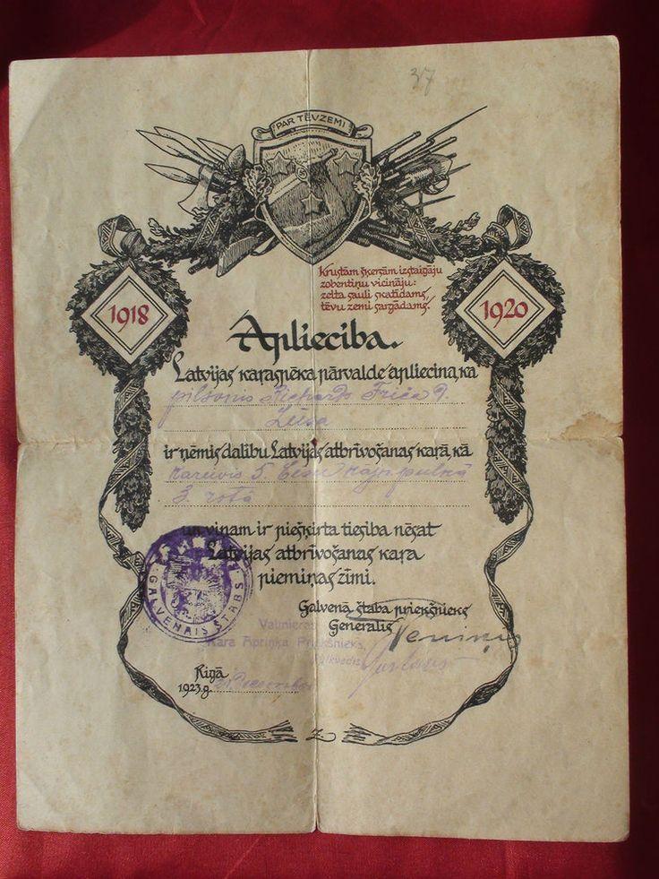 RARE LATVIJA   MILITARY OFFICER  DOCUMENT 1918 -1919