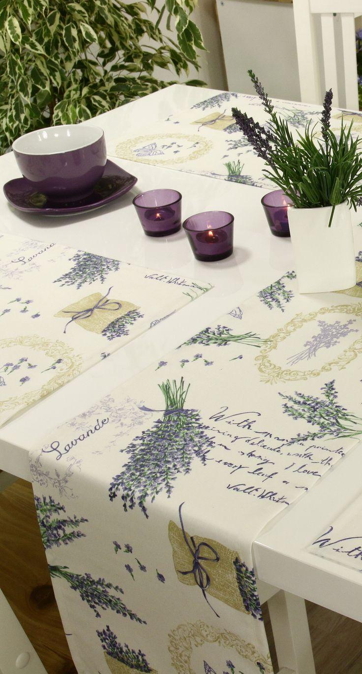 Abwaschbare Tischläufer und Tischsets mit Lavendel