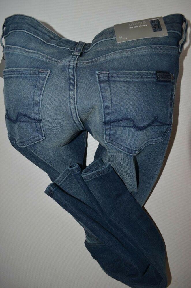 New 7 For All Mankind Stretch Olivya Skinny Jean Ladie Size 26 Uk