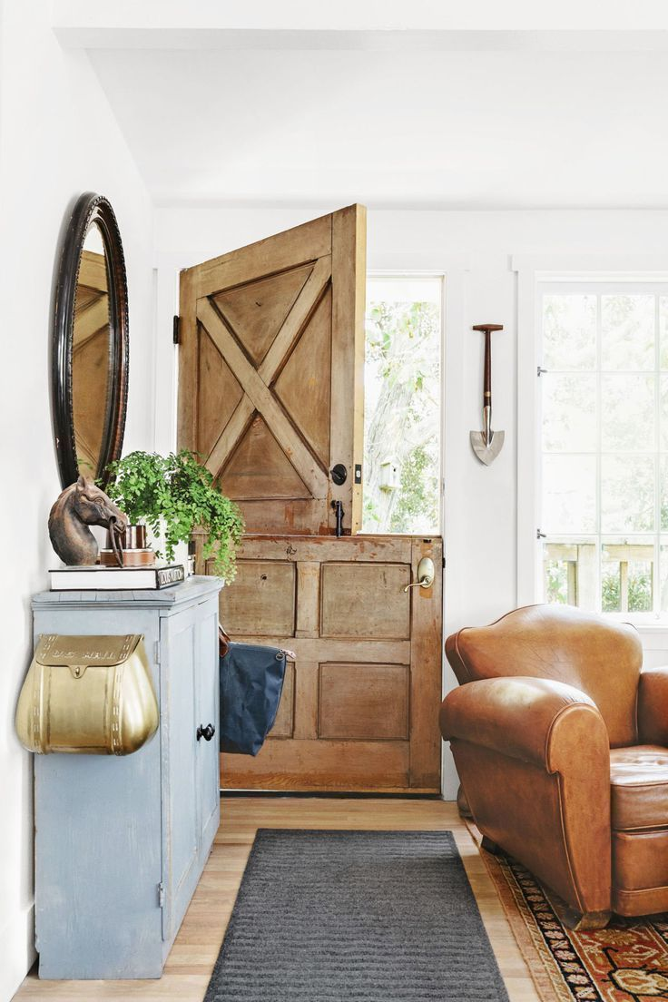 Rustic hallway furniture  Farmhouse style entrance way Rustic dutch barn door wooden door