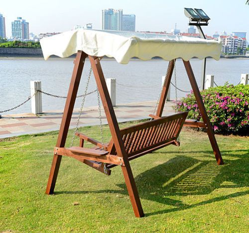 3 Seater Wooden Wood Garden Swing Chair Seat Hammock Bench Furniture  Lounger New   EBay
