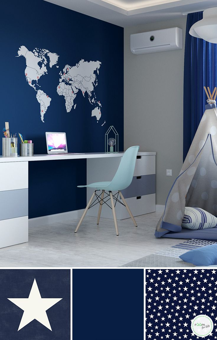 Kinderzimmergestaltung Für Jungs In Blau Und Toller Weltkarten Tapete Kinderzimmer Tapete Tapete Kinderzimmer Junge Zimmer Für Jungen