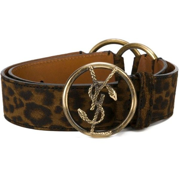 Saint Laurent Monogram Belt (£315) ❤ liked on Polyvore featuring accessories, belts, brown, brown buckle belt, leopard print belt, yves saint laurent, brown belt and buckle belt