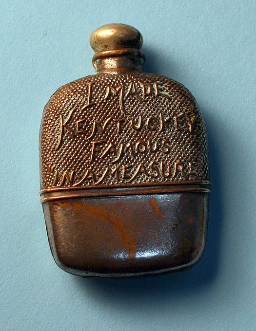 Antique Figural Tape Measure Rare Whiskey Flask, c. 1900-1920 from redmoonantiques on Ruby Lane